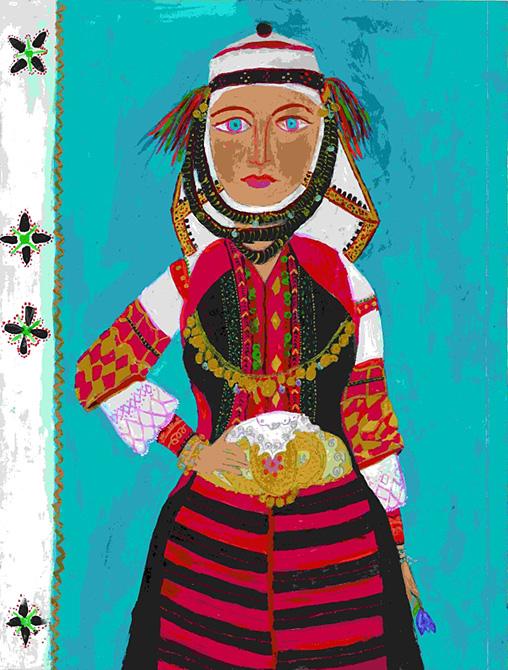 「アスベストホリの女性の伝統衣裳」