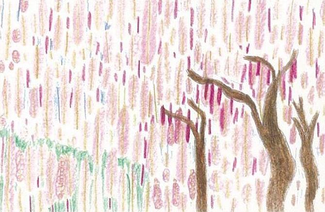 「藤色グラデーションが雨のように」