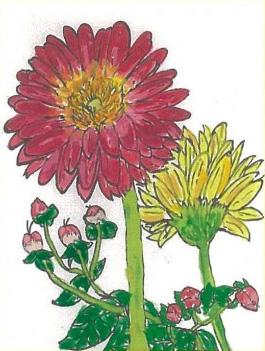 「二輪の花と実」