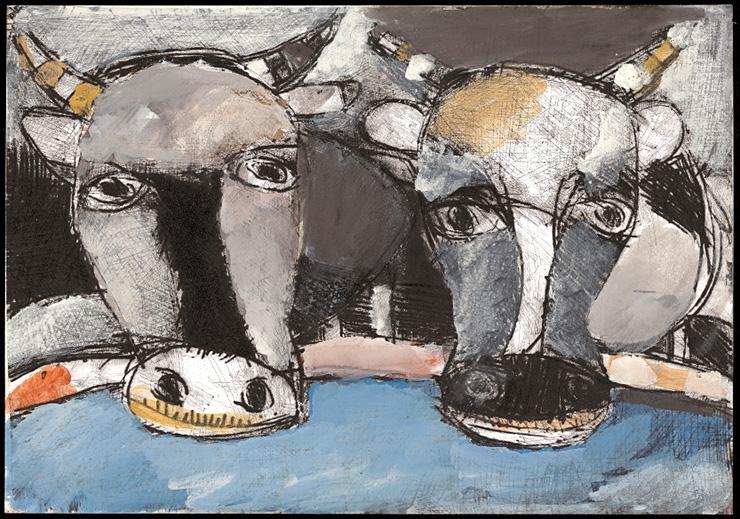 川のほとりの牛