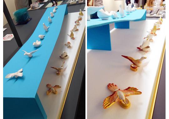 特種東海製紙賞『型抜き鳥~君の名は?~』 荒木めぐみさん  様々な種類の鳥を、石膏型から制作。手のひらに紙の鳥が収まる。