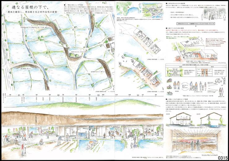 連なる屋根の下で、-農地を継承し、用水路を生む郊外住宅の提案-