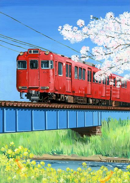 赤い電車の春