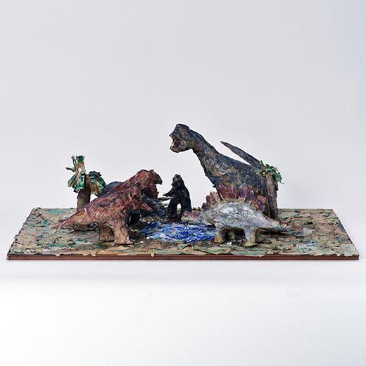 水辺に集まった異なる時代の恐竜たち