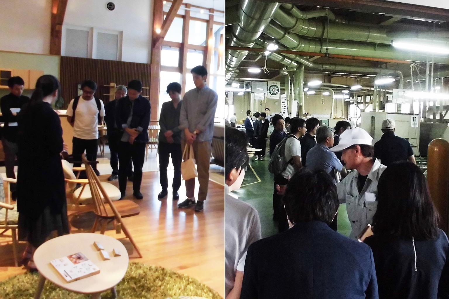 飛騨の家具®アワード 家具デザインコンテスト 昨年の工場見学ツアーの様子