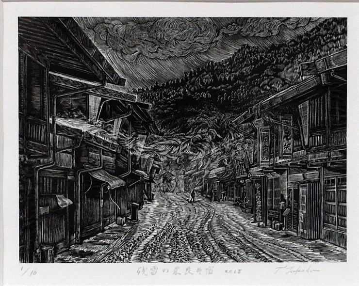 残雪の奈良井宿