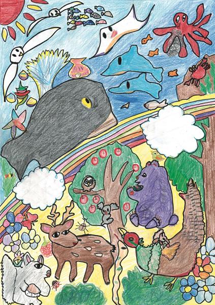 かがやく虹の海と森