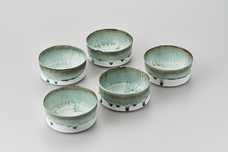流釉平鉢呉須彩色