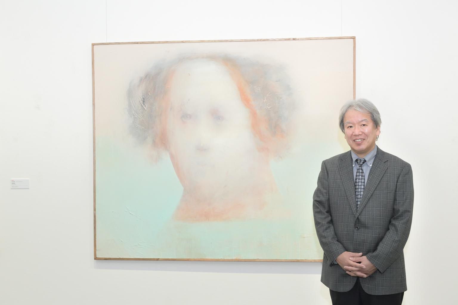 大槻和浩さんと作品《明日を見つめて》