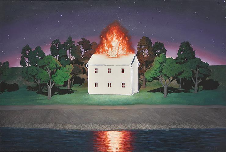 対岸で燃える家